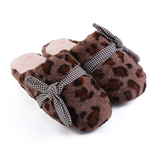 Footwear Damas Zapatillas de algodón de Interior, Zapatillas Hombres a casa de EVA Suela Antideslizante, Leopardo de Moda Pelusa Zapatillas Calientes de Invierno