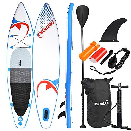 Nemaxx PB335 Tabla de Paddle Surf Sup 335x74x15 cm, Azul/Rojo - Tabla de Paddle Board - Tabla de Surf - Hinchable con Mochila, remos, Aletas, Bomba de Aire, Kit de reparación, Correa para pie