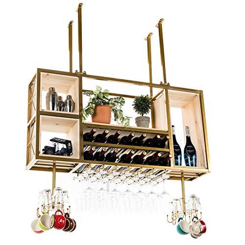 NYKK Traditionelles Weinregal Luxus große Wand Metall Weinregal und Weinglas Rack Restaurant Bar Lagerung Lagerregal Display Stand multifunktionales Design Weinregalhalter
