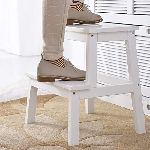 Folding Steps Ladder Wood- Trittleiter 2 Stufenleiter Massivholz Tragbarer Leichtgewichtler für Kind Erwachsenen Dekoration, Weiß WXP