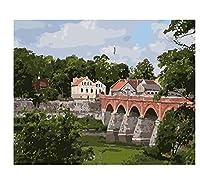 村の写真数字によるDIY絵画風景アクリル大人の油絵キャンバスに描く家の装飾ギフト40×50(フレームなし)