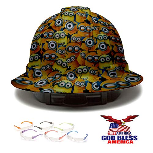 Full Brim Pyramex Hard Hat, Minions Design Safety Helmet 4pt + 6 Pairs Safety Glasses + American Flag Decal, by AcerPal