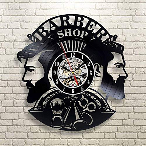 DMRDZL Relojes De Pared Barber Shop Reloj de Pared Moderno Barbershop Decoración Vinyl Record Reloj de Pared Colgante Peluquero Reloj de Pared para peluquería
