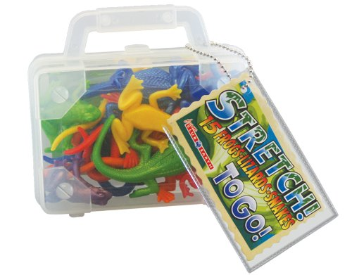 Stretchy Reptile Toy - Includes 15 Frogs, Lizards And Snakes In On-The-Go Suitcase