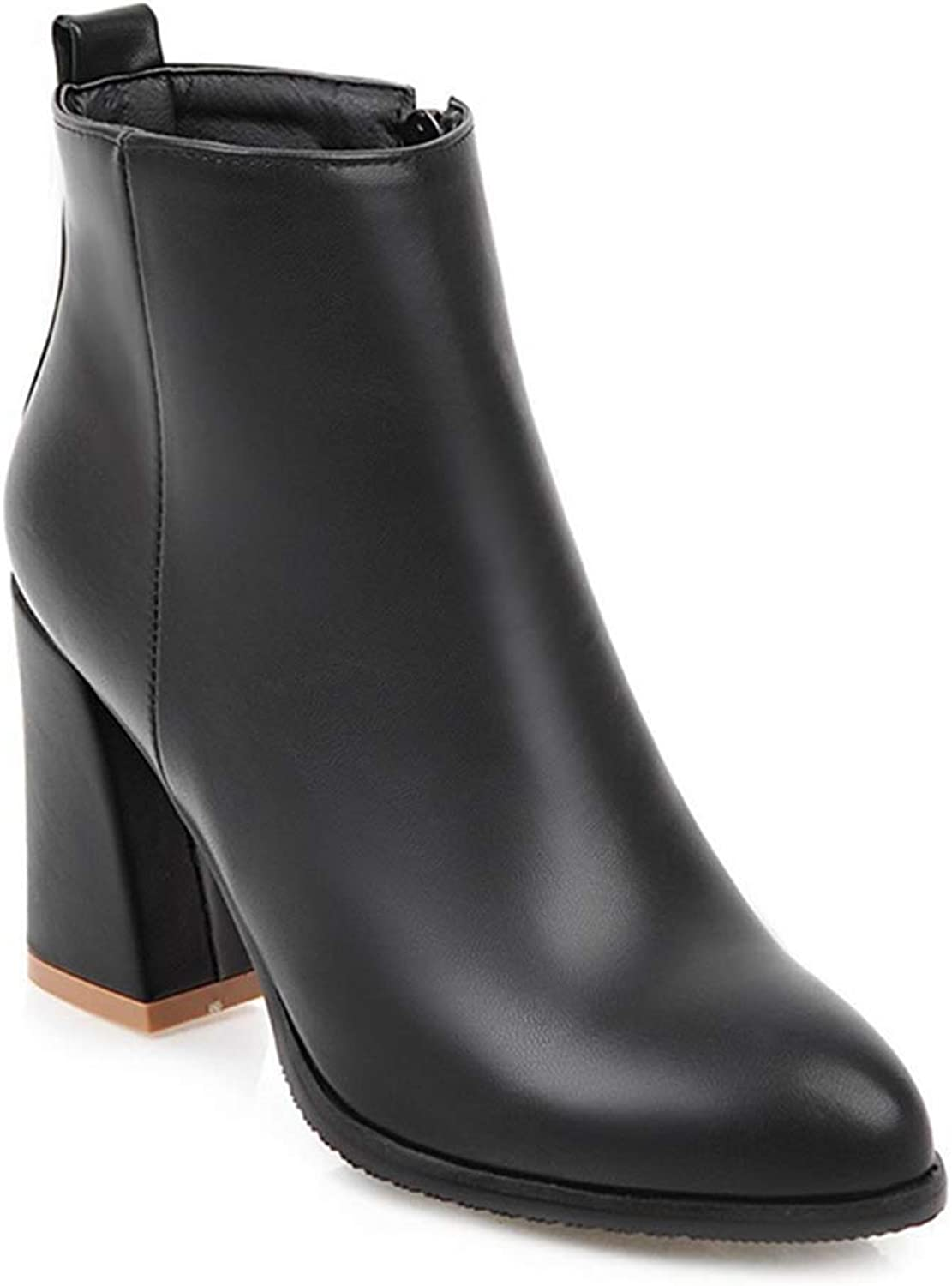 Elsa Wilcox Women Chunky High Heel Zipper Western Booties Chelsea Short Boots Black Dressy Pointed Toe Ankle Boots