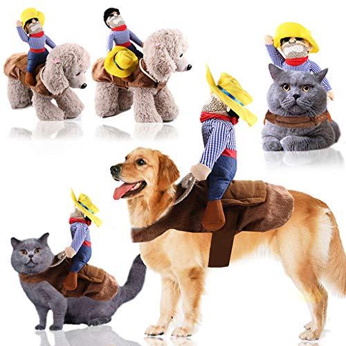 Longra Camicia da Cane Gatto Cowboy Costume Cosplay per Cani Divertente Gilet Giacca Cappotto Vestito Maglia Caldo Maglione Coat per Animali Domestici Abbigliamento Vestiti