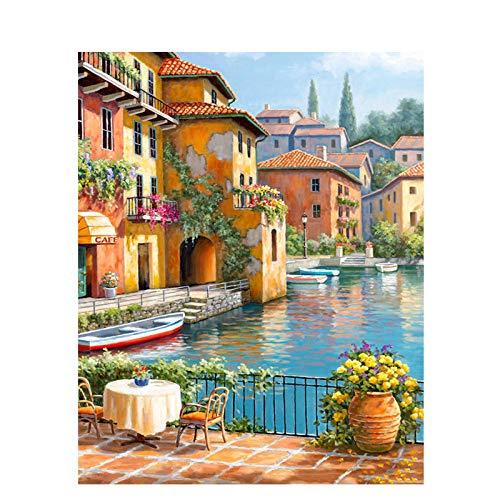 74Tdfc Digital Painting-DIY Gemälde nach Zahlen Home Decoration für Wohnzimmer DIY Digital Canvas Öl Wandkunst- Idyllisches malerisches Boot