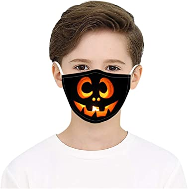 StyleV Halloween Face Cover Reusable- Children Washable Breathable Bandana Big Mouth Printed Neck Gaiter Men with 2filters