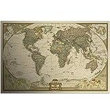 WSF-MAP, 1 stück Vintage Weltkarte Wandaufkleber Wohnkultur Kunst Tapetendekoration Retro Papier Matte Kraft Papier Karte der Welt