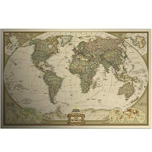 WSF-CARTE, 1PC Vintage Manche Carte Monde Stickers muraux Home Decor Art Fond d'écran Décoration de papier rétro Mat Kraft papier Carte du monde