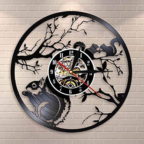 Eekhoorns houden van wandklokken, dierenhuisdecoratie, eekhoorns op een boom, vintage vinylplaten wandklokken met LED-verlichting 12 inch (30 cm)