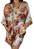 Women's Satin Floral Kimono Short Bridesmaid Robe W/Pockets - Champagne M/L
