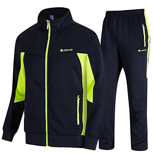 donhobo Herren Jogginganzug Trainingsanzug Sportanzug Fußball Sporthose Hoodie Hose für Gym Warm Tracksuit(02Grün,M)