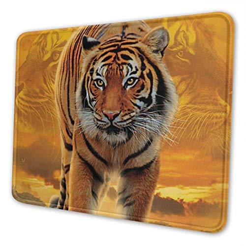 Alfombrilla de ratón para juegos Alfombrilla de ratón rectangular personalizada 9,5 x 7,9 pulgadas Rising Sun Tiger Alfombrilla de ratón con estampado de tigre, base de goma antideslizante Cómoda alf