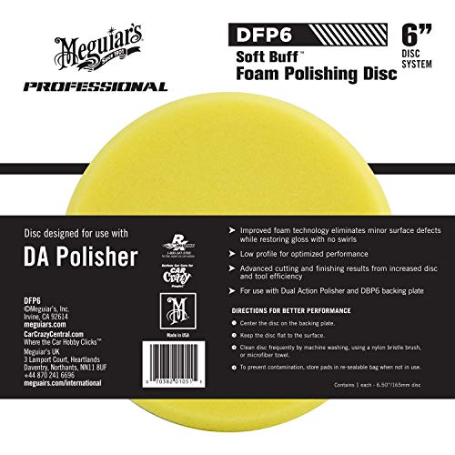 "Meguiar's 6"" DA Foam Polishing Disc – Dual Action Polishing Pad Enhances High Gloss – DFP6"