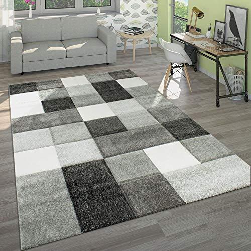 Paco Home Designer Teppich Modern Handgearbeiteter Konturenschnitt Kariert Grau Weiß, Grösse:160x230 cm
