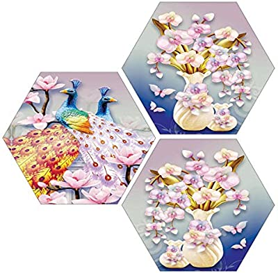SAF Set of 3 Hexagon Couple Peacock with Flower Pot UV Textured Multi-Effect MDF Painting 17 Inch X 17 Inch SANFHX37SMALL