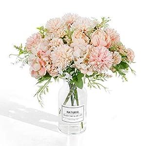 LIVILAN Artificial Flowers, Fake Peony Silk Hydrangea Bouquet Decor Plastic Carnations Realistic Flower Arrangements Wedding Decoration Table Centerpieces 2 Packs