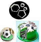 4 Stück Spielzeug für Kinder Set Kunststoff DIY Fußball Ausstecher Ausstechformen Keks Muffin Form Tortendeko Fondant Kuchen Dekoration Backen Zubehör