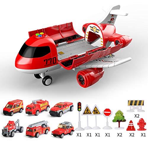 Coolplay Flugzeug Spielzeug Auto Set, 1 Groß Flugzeug 6 Feuerwehrauto mit Verkehrsschilder Spielzeug für ab 3-6 Jahre Junge Kinder