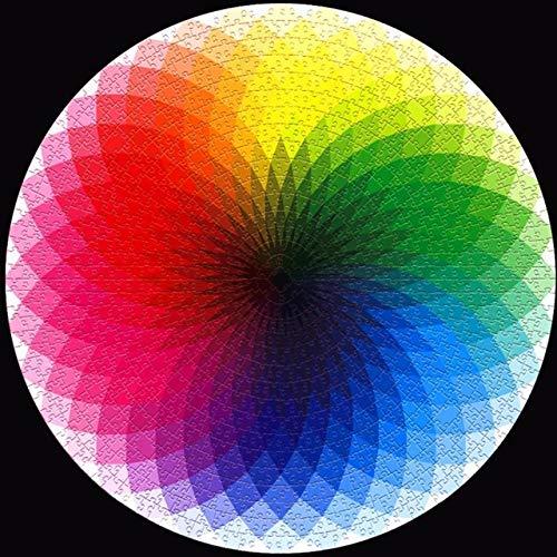 HUAKLIN The Moon Puzzle Round Puzzles 1000 Piezas Difícil para Adultos Colorido Rompecabezas Juguetes Juguetes Educativos Regalos para Niños Francia Violeta