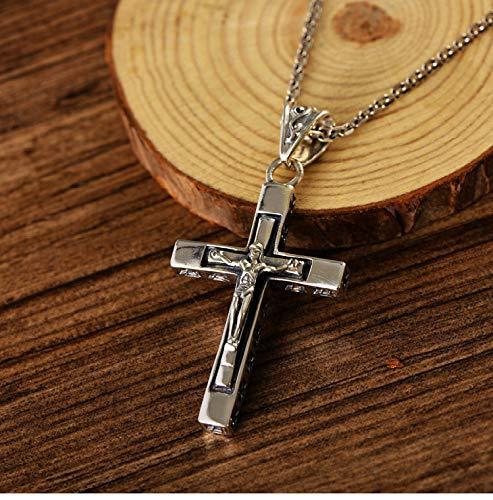 Yarmy Jesus Cross Necklace Pendant, s925 Sterling Silver Vintage Jesus Cross Pendant, Street Fashion Men, Personality Trendy Hip Hop Retro Punk Fashion Jewelry Gift