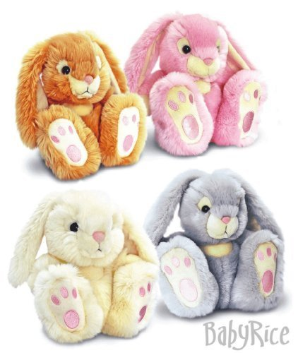 BabyRice New Baby Boy or Girl Gift Soft & Cuddly Patchfoot Rabbit HONEY BROWN 18cm by Keel Toys