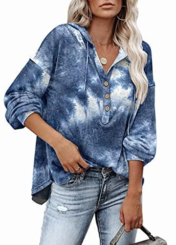 camicia donna jeans lunga PLOKNRD Tie Dye Blue Felpa Donna con Scollo a V Manica Lunga Camicia abbottonata M