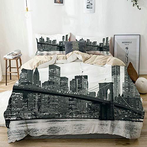 Juego de funda nórdica Beige, Puente de Brooklyn Sunset con Manhattan American New York City Famous Town Image, Juego de ropa de cama decorativo de 3 piezas con 2 fundas de almohada Fácil cuidado Anti