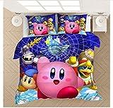 Nat999Lily Funda Nórdica De Dibujos Animados Kirby 3D Impreso Juego De Cama Fundas De Edredón Fundas De Almohada Edredón Juego De Cama Decoración del Dormitorio del Hogar 140x200cm