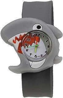 BCHENG Cartoon Slap Watch Shark Design with Bendable Silicone Strap Wristwatches for Children (Shark)