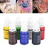 Juego de tintas para tatuajes profesionales de 15 ml, 7 colores, kit de pigmentos para el color del cuerpo pernament profesional de tinta para tatuaje inchi