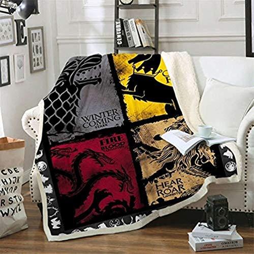 POMJK Coperta e plaids Game of Thrones stampati, coperta in pile morbida, stampa 3D, per ufficio, pisolino, divano, campeggio, viaggi (1,100 x 140 cm)