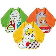 Lictin Bibs with Sleeves EVA Baby Bib 3pcs Waterproof Unisex Waterproof Long Sleeved Bib EVA Baby Ba...