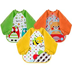 3-Pack Functional bibs:You can use the bibs to your kids as a cover when they are painting or doing other activities Waterproof bibs , grease-proof,easy to clean you can just wipe off the stains with the towel;also it can be wash by hand or put in th...