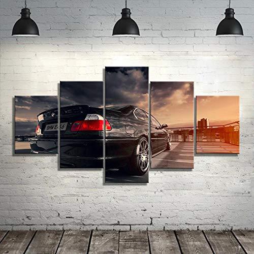 ARXBH Quadro su Tela - 5 Pezzi - 100X55 Cm / 39,37 X 21,65 Pollici 5 Tavole Auto Sportive Pittura Decorazione della Casa Soggiorno Immagine Wall Art Tela Moderna - Allungato da Una Cornice di Le