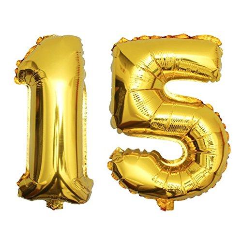 DekoRex® 15 Globo en Oro 80cm de Alto decoración cumpleaños para Aire número