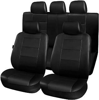 Romacci 9Pcs Luxury Car Seat Covers Front +Back Seat Black Scratch proof Four Seasons Bottoms PU Leather Protectors,Compat...