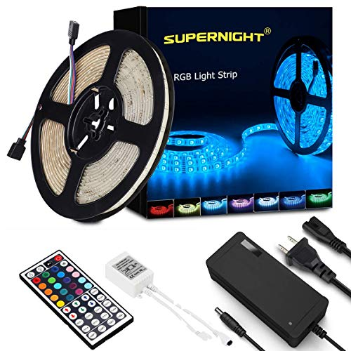 SUPERNIGHT LED Strip Lights,16.4Ft RGB Color Changing SMD5050 300 LEDs Flexible Light Strip Waterproof Kit with 44 Key Remote Controller and 12V 5A Power Supply (PCB Color, White)
