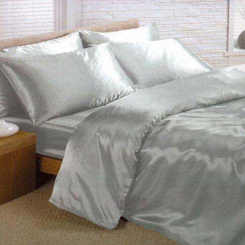 Juego de funda de edredón, sábana y 4 fundas de almohada de satén, color plata (tamaño grande), color rojo satinado