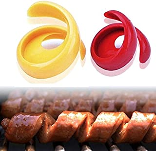 Xiaolanwelc@ 2PCs Manual Fancy Sausage Cutter Spiral Barbecue Hot Dogs Cutter Slicer kitchen Cutting Auxiliary Gadget Hotdog sausage Tools