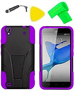 Heavy Duty Hybrid Phone Cover Case Cell Phone Accessory + Extreme Band + Stylus Pen + Yellow Pry Tool for ZTE Quartz Z797C 797C (T-Stand Black Purple)