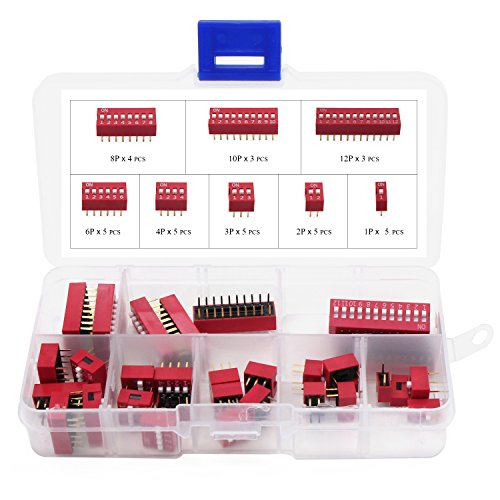 Aussel Doppelreihen-DIP-Schalter-Sortimentssatz 1 2 3 4 6 8 10 12 Positionen 35 Stück