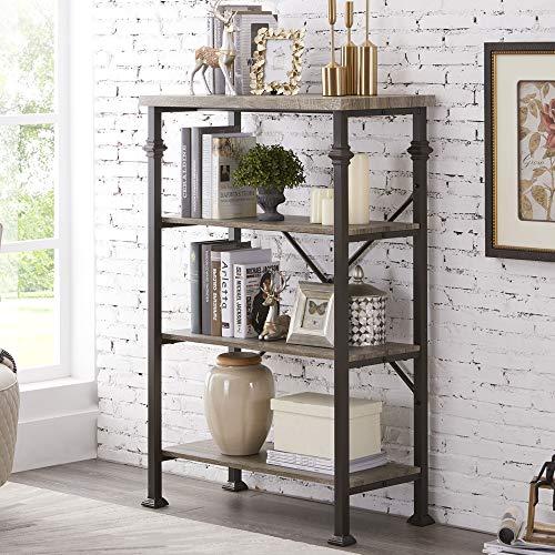 Hombazaar 4-Tier Industrial Bookcases, Vintage Open Etagere Bookshelf, Multi-Functional Shelf Units for Collection, Grey Oak
