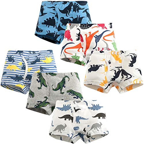 Adorel Boys Boxers Pants Underwear Pure Cotton Pack of 6 Dinosaurs 3-4...