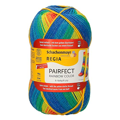 REGIA 6-fädig Rainbow Color 9801173-02771 neon Handstrickgarn, Sockengarn, 150g Knäuel