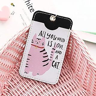 Billetera Titular de dibujos animados portátil Estudiante ID de Bus Tarjeta de etiqueta tarjeta de la tarjeta de crédito de la cubierta con llavero de anillo, la mujer Banco de moda bolsa de cuero