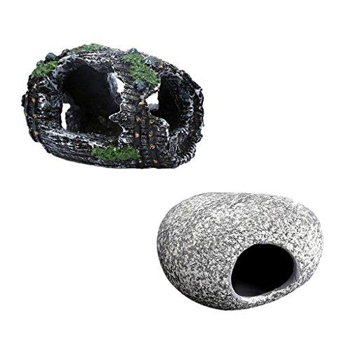 F Fityle 2pcs Aquarium Cichlid Harz Rock Versteck für Aquarium Teich Ornament Dekoration Garnelenzucht