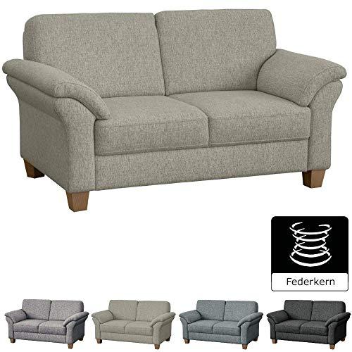 CAVADORE 2-Sitzer Byrum im Landhausstil / Große Couch mit Federkern / 156 x 87 x 88 / Strukturstoff Beige