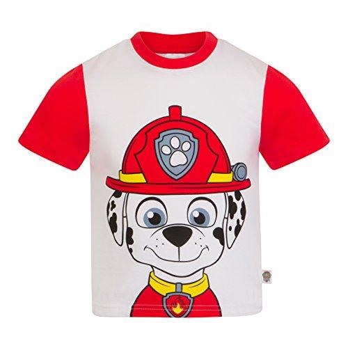 Paw Patrol - Kinder T-Shirt mit Figuren wie Rocky Chase Rubble & Skye - Offizielles Merchandise - Geschenk - Rot - 4-5Jahre